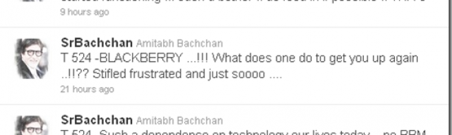 Amitabh Bachchan frustrated by Blackberry outage!