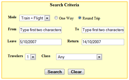 90DI travel search window