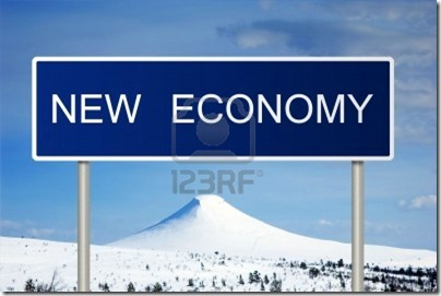 6768360-a-blue-road-sign-with-white-text-saying-new-economy