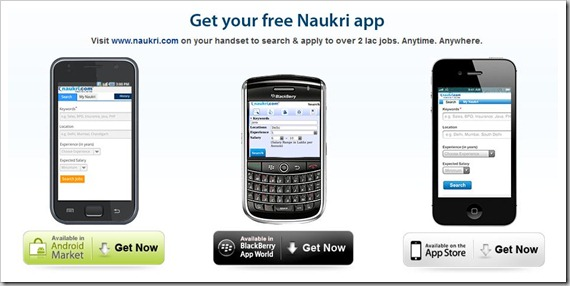 naukri com launches android iphone bb apps introduces html 5 site