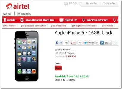 Airtel iPhone 5