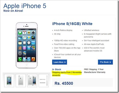 iPhone 5 Aircel
