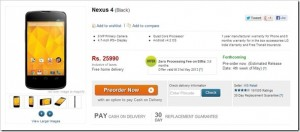 Updated: Google Nexus 4 available for Pre-Order on Flipkart for Rs. 25990!