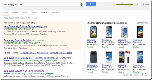 Samsung Galaxy 4 search page