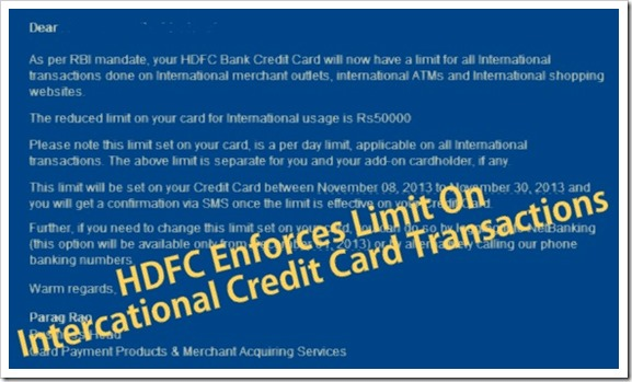 Hdfc bank brings inr 50k day limit on international credit card hdfc credit card international transactions 001 reheart Gallery