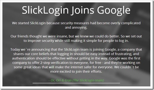 Slicklogin Google acquisition