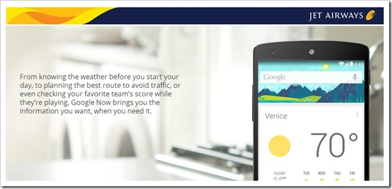Jet Airways Brings Flight Updates With Google Now Integration!