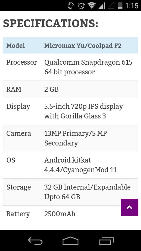 Micromax Yu Specifications