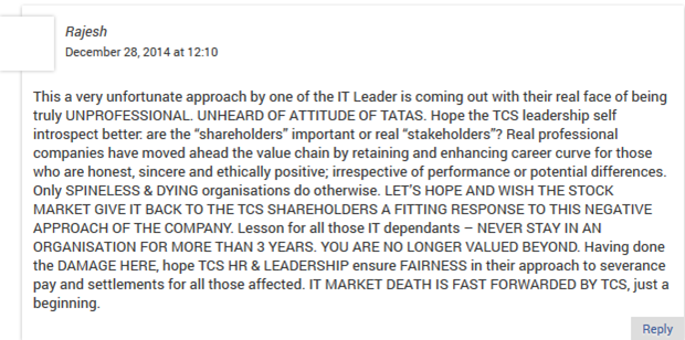 Tcs layoff saga employees strike back to file case against mass the anger against the top management there are issues related with racism partiality for female employees issues with appraisal and more inside tcs spiritdancerdesigns Gallery