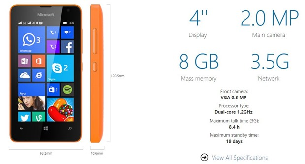 Lumia 430 specifications