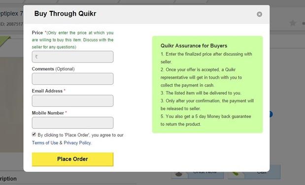 Buy through Quikr details