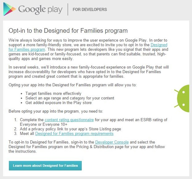 Google Mail to developers