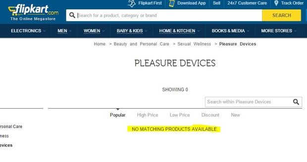 Flipkart sexual wellness category closed