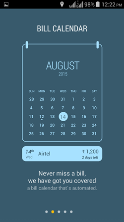 Smartspends bill calendar
