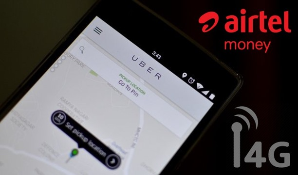 Uber Riders Can Now Pay Using Airtel Money; Free In-Cab 4G Wi-Fi!