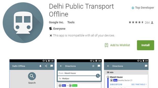 Delhi public transport app header