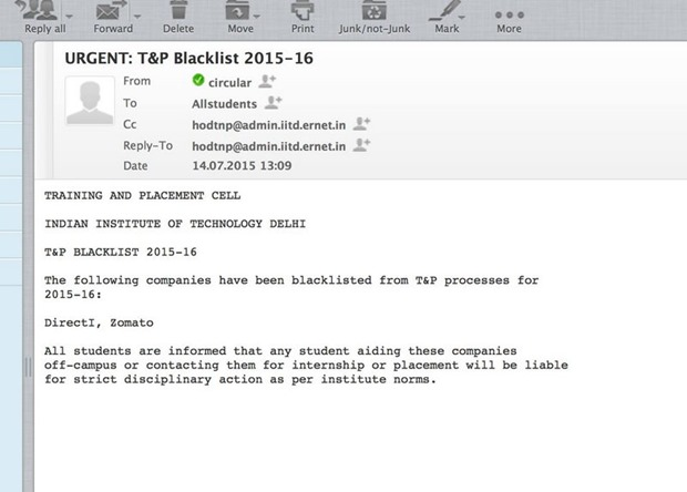 IIT placement Blacklist Mail