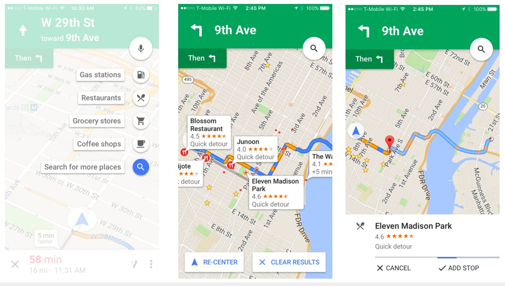 How to use pit stops in Google Maps on iOS?