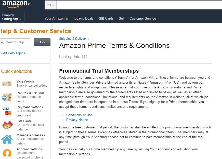 Amazon Prime Terms & COnditions page