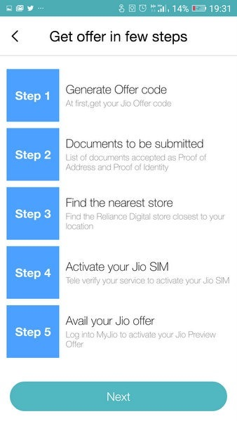 Jio Offer Steps