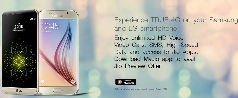Reliance Jio Samsung LG Preview offer