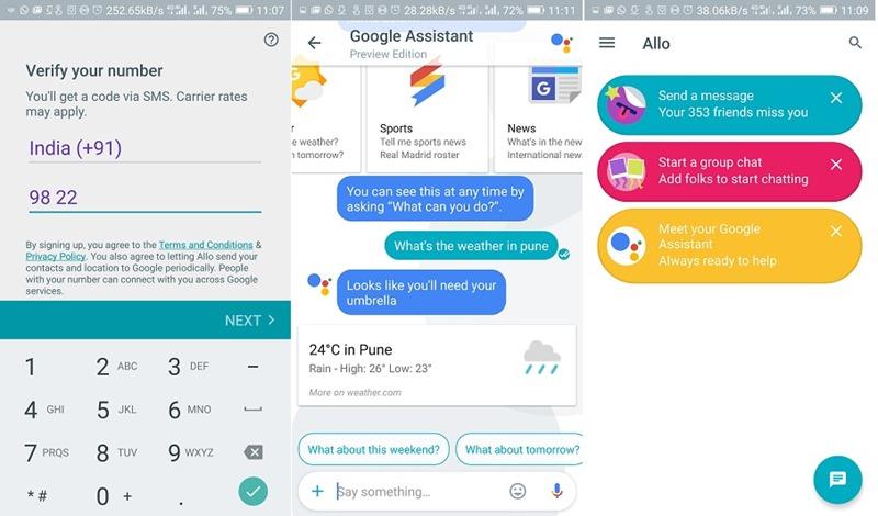 Google Allo combined screenshot