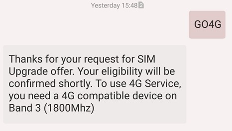 Idea Cellular 4G Sim Confirmation message-001