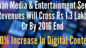 Indian Media & Entertainment Sector Revenues Will Cross Rs 1.3 Lakh Cr By 2016 End; 500% Increase In Digital Content