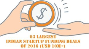 93 Largest Indian Startup Funding Deals of 2016 (USD 10M+)
