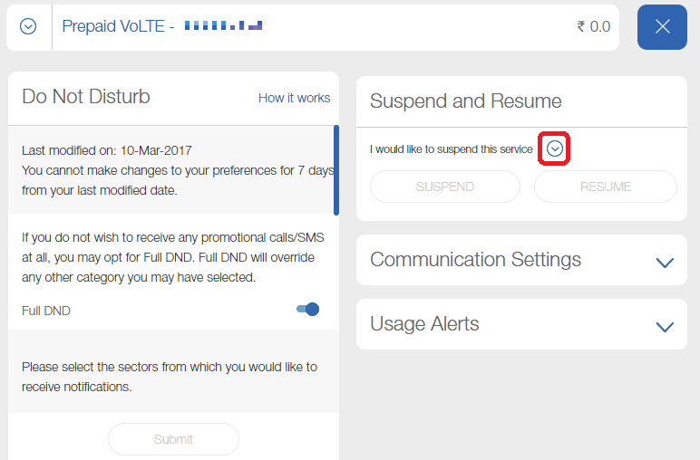 How to suspend or resume your Jio account Step 2 Trak.in