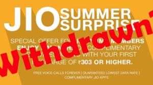 Jio Summer Surprise Offer Has Been Withdrawn On TRAI's Advice!