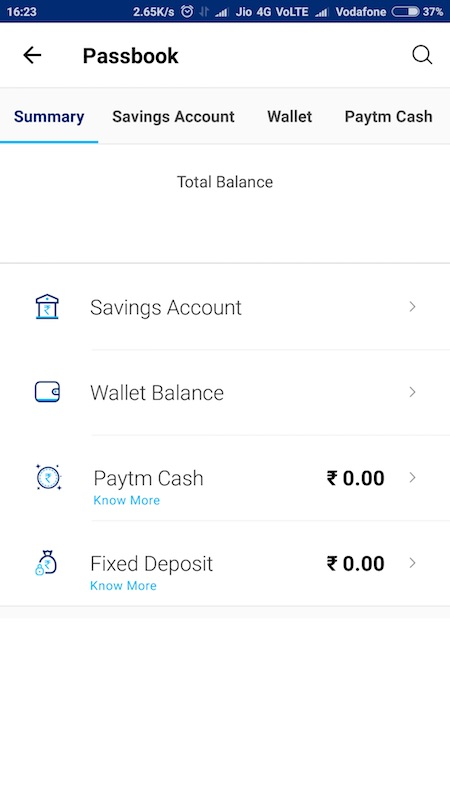 Paytm Cash In Passbook
