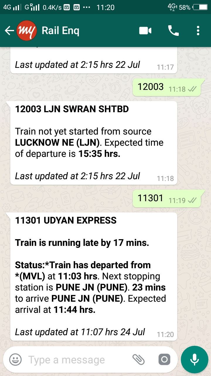 Train enquiry on Whatsapp
