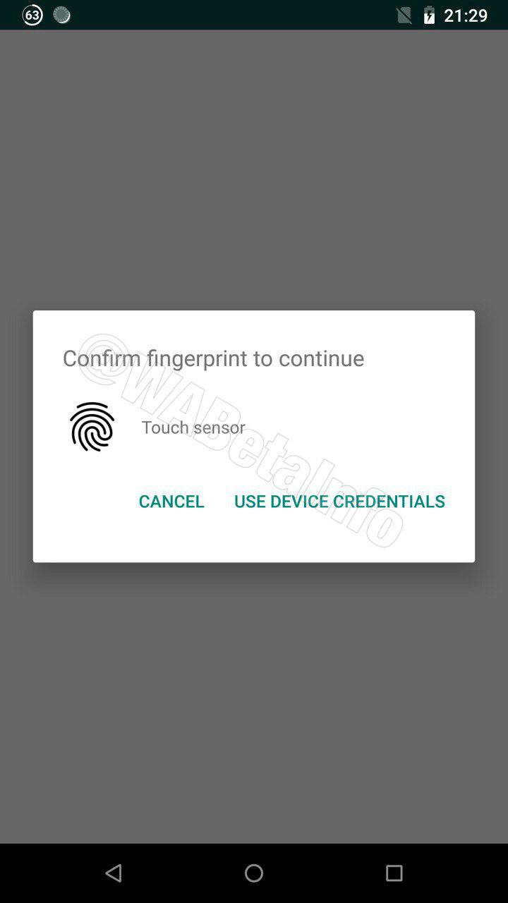 Fingerprint lock on Whatsapp