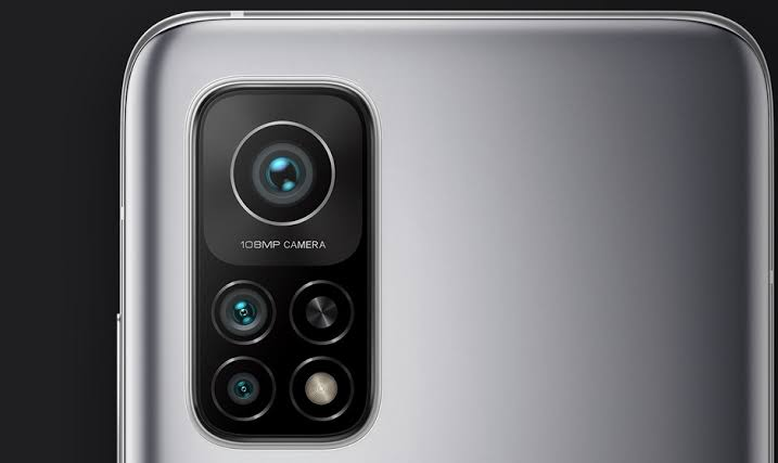 Back view of a smartphone with a primary and quad-cameras